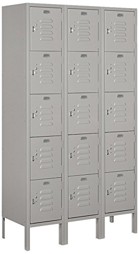 5 Tier Box Locker - Salsbury Industries 65352GY-U Five Tier Box Style 36-Inch Wide 5-Feet High 12-Inch Deep Unassembled Standard Metal Locker, Gray