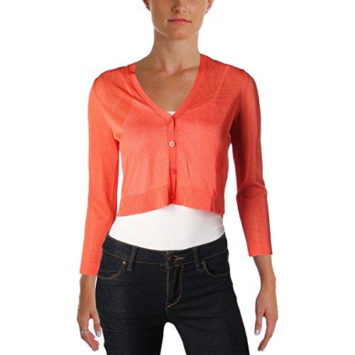 Lauren Ralph Lauren Womens Petites Chesca V-Neck Cardigan Sweater Orange ()