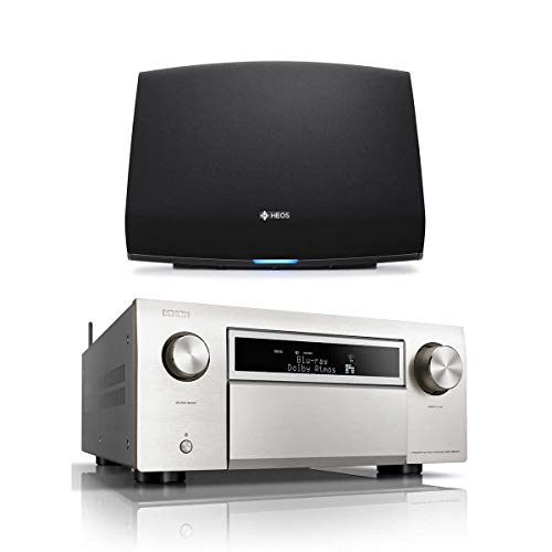 Denon AVR-X8500H 13.2 Channel Home Theater Receiver (Silver) with HEOS 5 Wireless Streaming Speaker - Series 2 (Black)