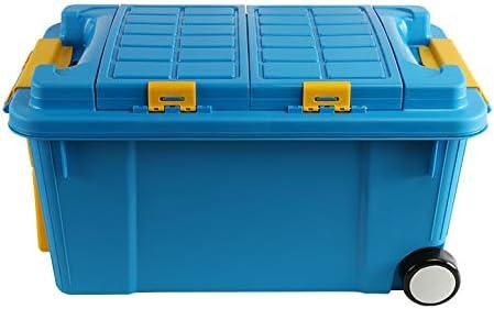 LHY SAVE Cajas almacenaje plastico Cajas organizadoras con Tapa y Rueda 2 Niveles Heavy Duty Contenedor organizadoras para el hogar, jardín, Garaje, Camping y Transporte,Azul,55L: Amazon.es: Hogar