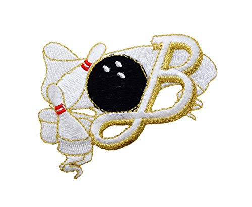 Bowling - Ribbon/Pins/Ball - Black/White/Gold - Iron on Applique/Embroidered Patch