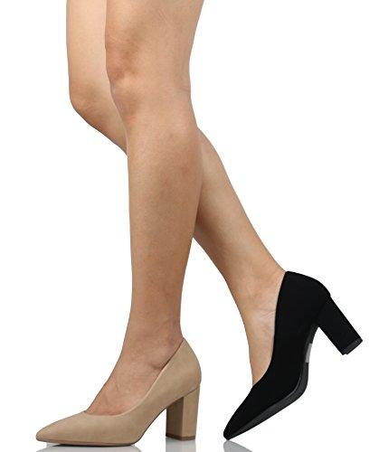 Ciudad Clasificada Mujeres Pointy Toe 3 Pulgadas Block Heel High Pump Natural
