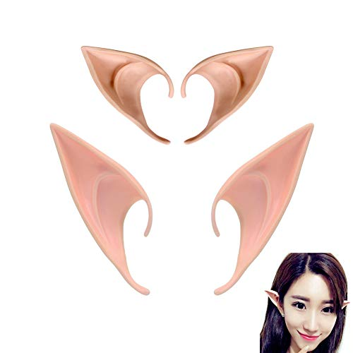 MXXGMYJ Elf Ears Tips Anime Cosplay Fairy Pixie Fake Elf Ears Halloween Costumes Party Favors Supplies for Women Girl