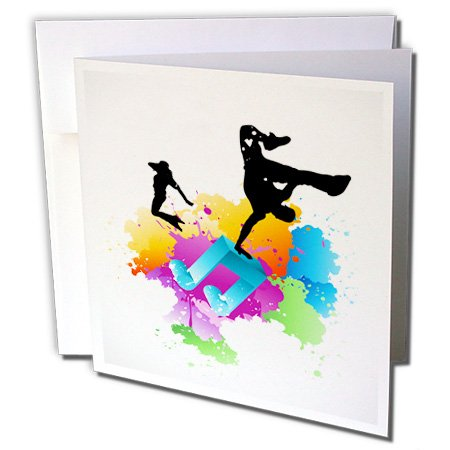 3dRose Blue Musical Note On Multi Color Grunge Background Silhouettes Of Hip Hop Dancers - Greeting Cards, 6 x 6 inches, set of 12 (gc_158869_2) (Background Grunge)