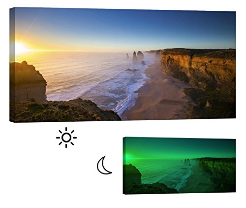 LightFairy Glow in the Dark Canvas Painting - Stretched and Framed Giclee Wall Art Print - Beach Ocean Twelve Apostles Australia - Master Bedroom Living Room Decor - 6 Hours Glow - 46 x 24 inch