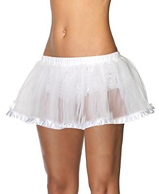 Leg Avenue A1700W Women's White Petticoat With Pleated Satin Trim