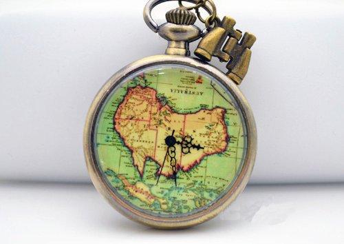 antique brass oceania australia map pocket watch necklace telescope adventure necklace