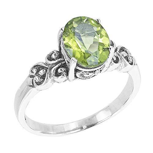 (Robert Manse Desings Scrollwork Sterling Silver Oval Gemstone Solitaire Ring (Peridot))
