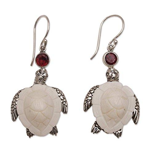 - NOVICA Garnet .925 Sterling Silver Cow Bone Dangle Earrings, Kurma Turtles'