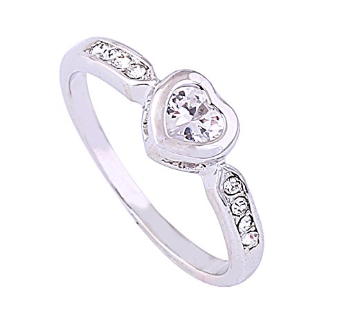 (Acefeel Fresh Style Shining Heart Shaped Czech Drilling Promise Ring Graduation Gift R175 Size 8)