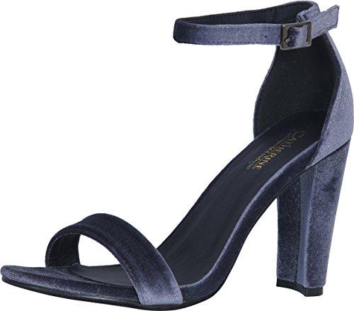 Catherine Malandrino Women\'s Velvet Chunky Heel Ankle Strap Dress Sandals, Grey Velvet, 10 B(M) US' (Womens Ankle Heel Chunky Strap)