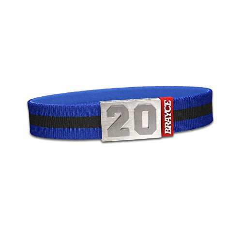"fan products of BRAYCE Team Colors: Customize your jersey bracelet blue/black with your player number (0-99) 7 sizes (6,3"" – 8,7""): Hockey, Baseball, Basketball & Football"