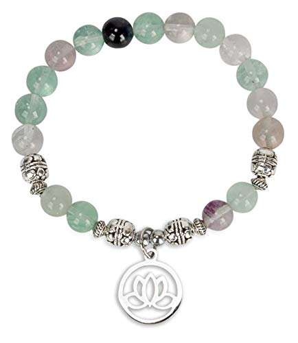 SPUNKYsoul Lotus Crystal Fluorite Healing Energy Bead Bracelet for Women Stainless Steel and Alloy ()