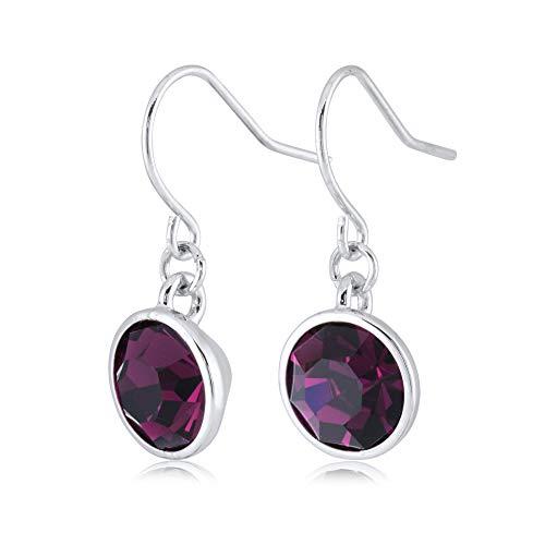 Swarovski Crystal Silver Plated Earrings - UPSERA Purple Drop Dangle Earrings for Women Girls Crystals from Swarovski Silver Tone Plated Earrings Jewelry