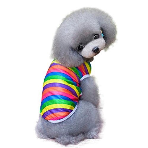 Dog T Shirt,Fheaven Fashion Summer Pet Dog Classic Wide Stripes Lovely T-shirt (S, Multicolor)