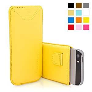 iPhone SE, 5s and 5 Case, Snugg Apple iPhone SE, 5s and 5 Yellow Leather Pouch Case [Card Slot] Apple iPhone SE, 5s and 5 Pouch Case Cover Executive Design [Lifetime Guarantee]
