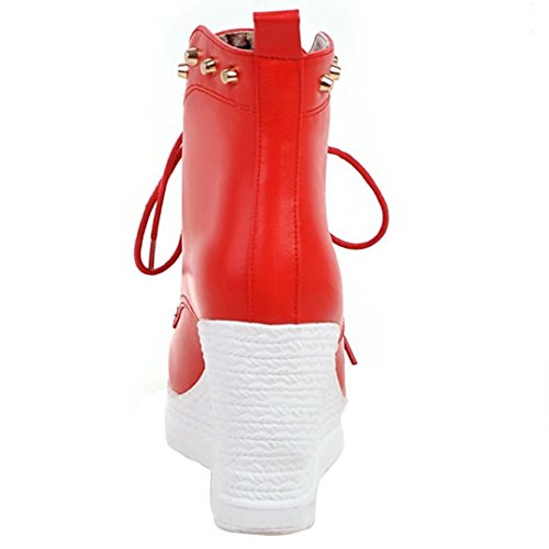 AIYOUMEI Damen Keilabsatz Stiefeletten mit Nieten und 9cm Absatz Bequem Modern Plateau Schnürstiefeletten Rot
