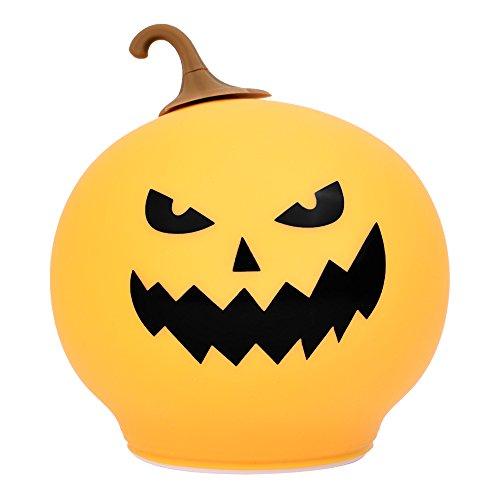 SlowTon Pumpkin Night Light, Soft Silicone Rechargeable Multicolor LED Night Light Halloween Lamp Sensitive Pat Control, Adjustable Brightness and Colorful Jack-o-lantern for Bedroom, Nursery (Orange)