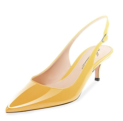 Modemoven Women's Yellow Patent Leather Pointed Toe Slingback Ankle Strap Kitten Heels Pumps Evening Stiletto Shoes - 10.5 M US by Modemoven (Image #2)