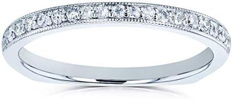 Kobelli Diamond Pave-set Milgrain Square Shank Wedding Band 1/5 CTW 14k White Gold
