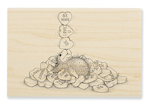 STAMPENDOUS House Mouse Wood Rubber Stamp Balancing Hearts