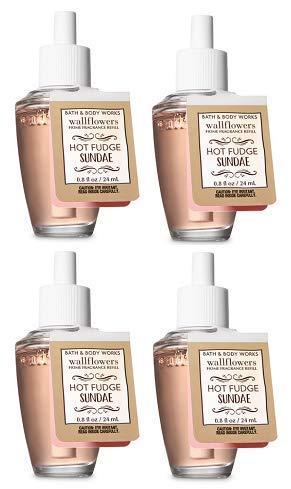 (Bath and Body Works 4 Pack Hot Fudge Sundae Wallflowers Fragrance Refill. 0.8 fl oz.)