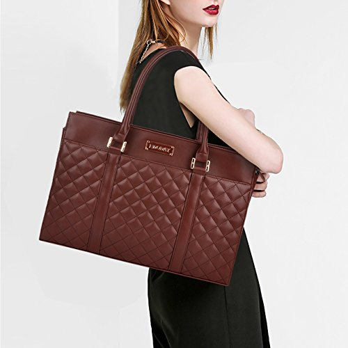 Laptop Tote Bag,Women 15.6 In Business Laptop Tote with Durable Smooth Metal Zipper Closure [L0011/Coffee]