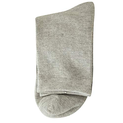 1Pair Mens Non Elastic 100% Pure Cotton Socks Comfort Soft Grip Diabetic (Gray) by Levacy Sports & Outdoors