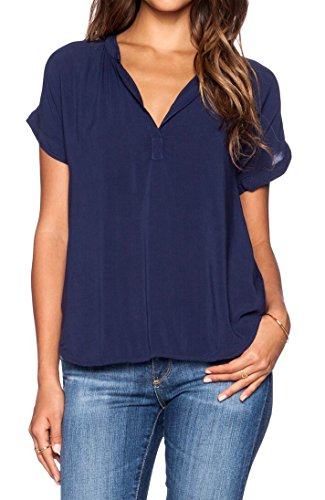 LILBETTER Women Chiffon Blouse V Neck Short Sleeve Top Shirts (M, Navy Blue) from LILBETTER