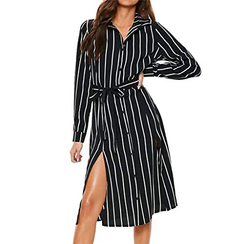 Fashion Women Striped Printed V-Neck Long Sleeve Bandage Button Dress,Tronet women party dresses sexy ()