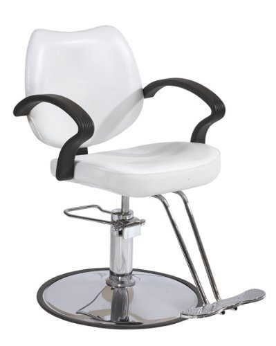 3W Classic Hydraulic Barber Chair Styling Salon Beauty White by BestSalon