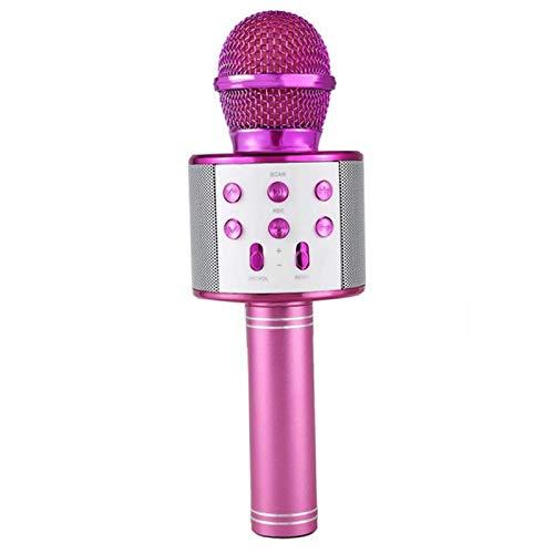XuBa - Micrófono inalámbrico Bluetooth de Mano Karaoke Mic USB KTV Player Bluetooth Altavoz Grabador de música micrófonos Rosa Rosa