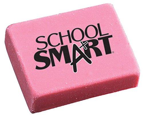 School Smart Latex Free Block Eraser,1 1/8 x 15/16 x 3/8- Inch, Pink, Box of 80 (000786)
