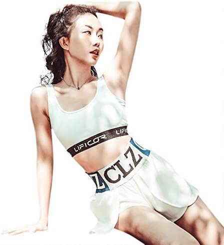 レディースジャージ上下セット 女性2ピース衣装セクシータンクトップカジュアルショートパンツスポーツウェア (Color : White, Size : L)