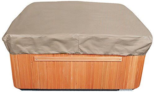 Spa Covers Leisure Bay - Budge English Garden Square Hot Tub Cover, Medium (Tan Tweed)
