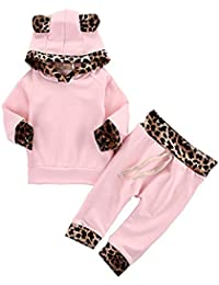2Pcs Cute Newborn Baby Girls' Pink Leopard Hoodie T-Shirt Top + Pants Outfits Set