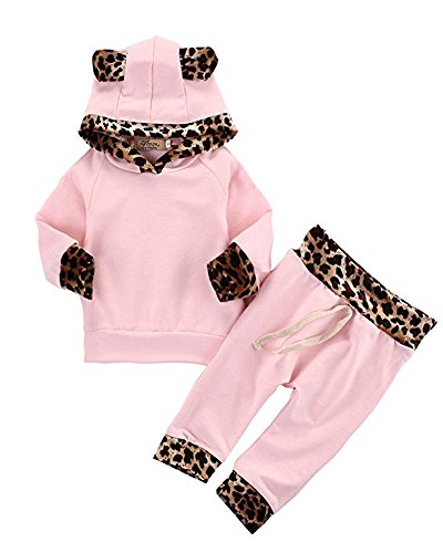 2Pcs Cute Newborn Baby Girls Pink Leopard Hoodie T-shirt Top + Pants Outfits Set 70(0-3M, Pink&Leopard) (Gift For Newborn Baby Girl)
