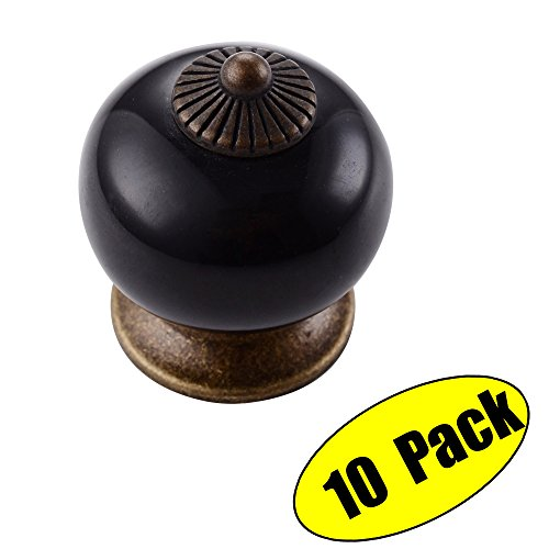 KES Vintage Ceramic Kitchen Bath Cabinet Round Knobs 1-3/10-Inch Diameter Drawer Handles (Handle Cabinet Knob Antique Brass)