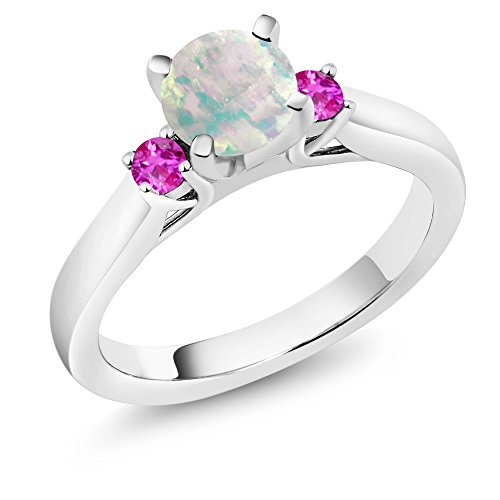 Sapphire Cabochon Ring (0.56 Ct Cabochon White Simulated Opal Pink Sapphire 925 Silver 3-Stone Ring)