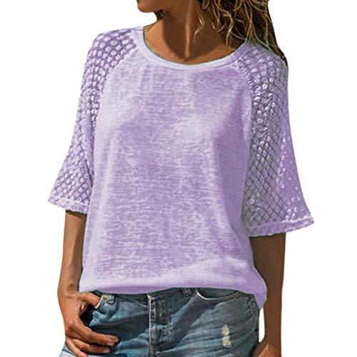 Women's Short Sleeve V-Neck Tee Tank Top Shirt Purple S