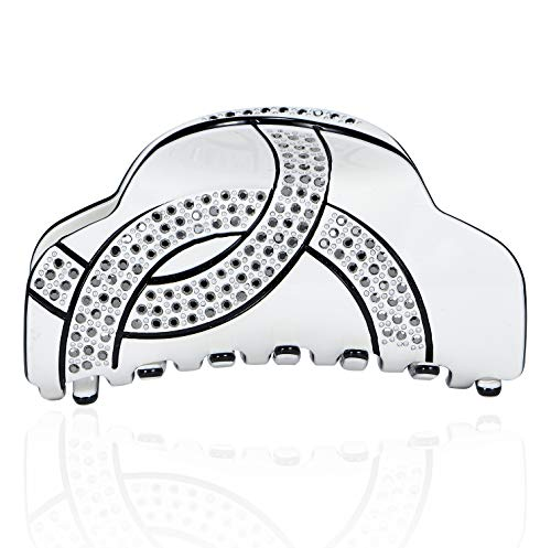 Oval Shape Austrian Crystals - Janefashions Infinity Love CC Oval Shape Austrian Rhinestone Crystal Hair Clip Barrette Ponytail Holder Hair Claw Clamp Black and White B4757 (Claw White)