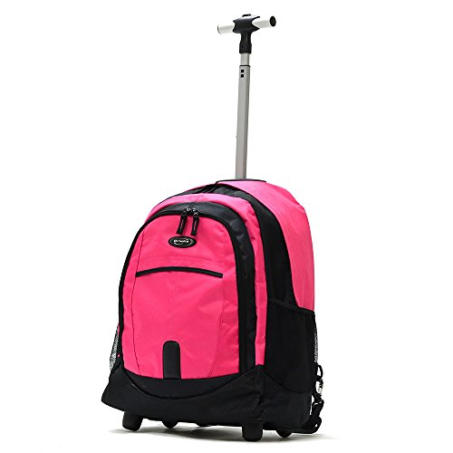 "Olympia Sports Plus 19"" Rolling Backpack, Wheeled Computer Bag in Pink"