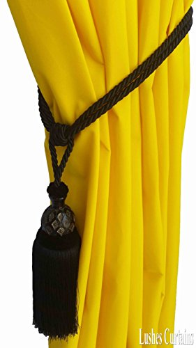 1 Luxury Handmade Black Color w/Wood Single Tassel Rope Tie Back Window Treatment Curtain Drapery Vintage Look 2 Spread Cord Holdback Decor Tieback/Pull Back by Lushes Curtains (Image #4)
