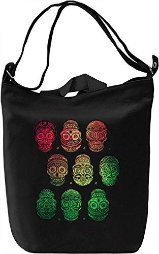 Colourful Skulls Borsa Giornaliera Canvas Canvas Day Bag| 100% Premium Cotton Canvas| DTG Printing|