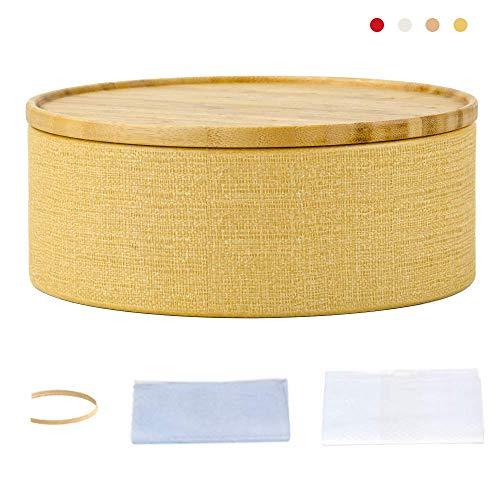Flour Paper Mache - Storage Round Box with Bamboo Wooden