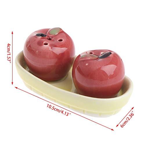 SimpleLif 1 Pair Apple Ceramic Salt Pepper Shakers Set Seasoning Bottle Wedding Party Gift