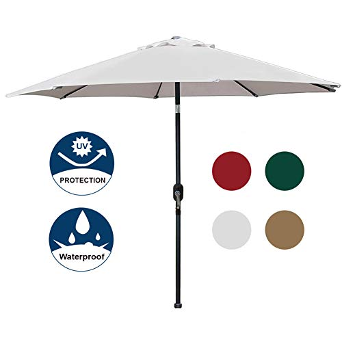 Blissun 9' Patio Umbrella Aluminum Manual Push Button Tilt and Crank Garden Parasol, 8 Ribs (Grey)