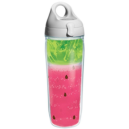 Tervis Watermelon Splash Wrap and Water Bottle with Lime Grey Lid, 24-Ounce, Beverage