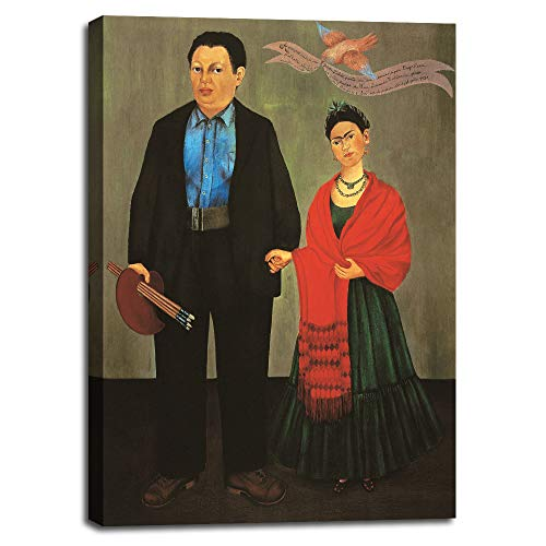 (Living Room Decor Paintings - Frida and Diego Rivera, 1931 by Frida Kahlo - Wall Art Poster Canvas Pictures for Bedroom Home Contemporary Poster Artwork Wooden Frame Ready to Hang - 20