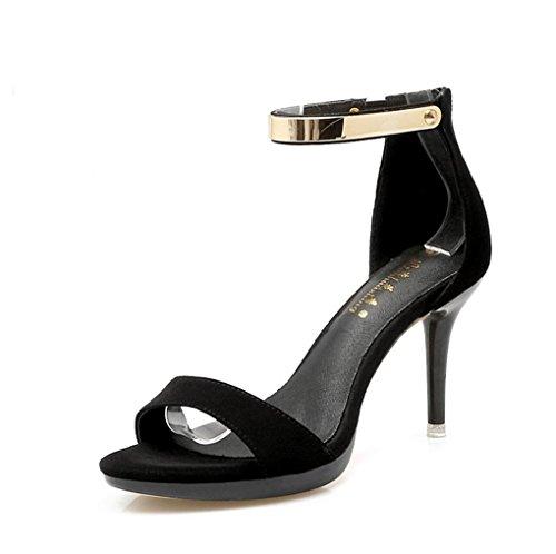 Heels de Ms Negro Open High de Verano Sexy Sandalias Tacón Alto Toe vx778